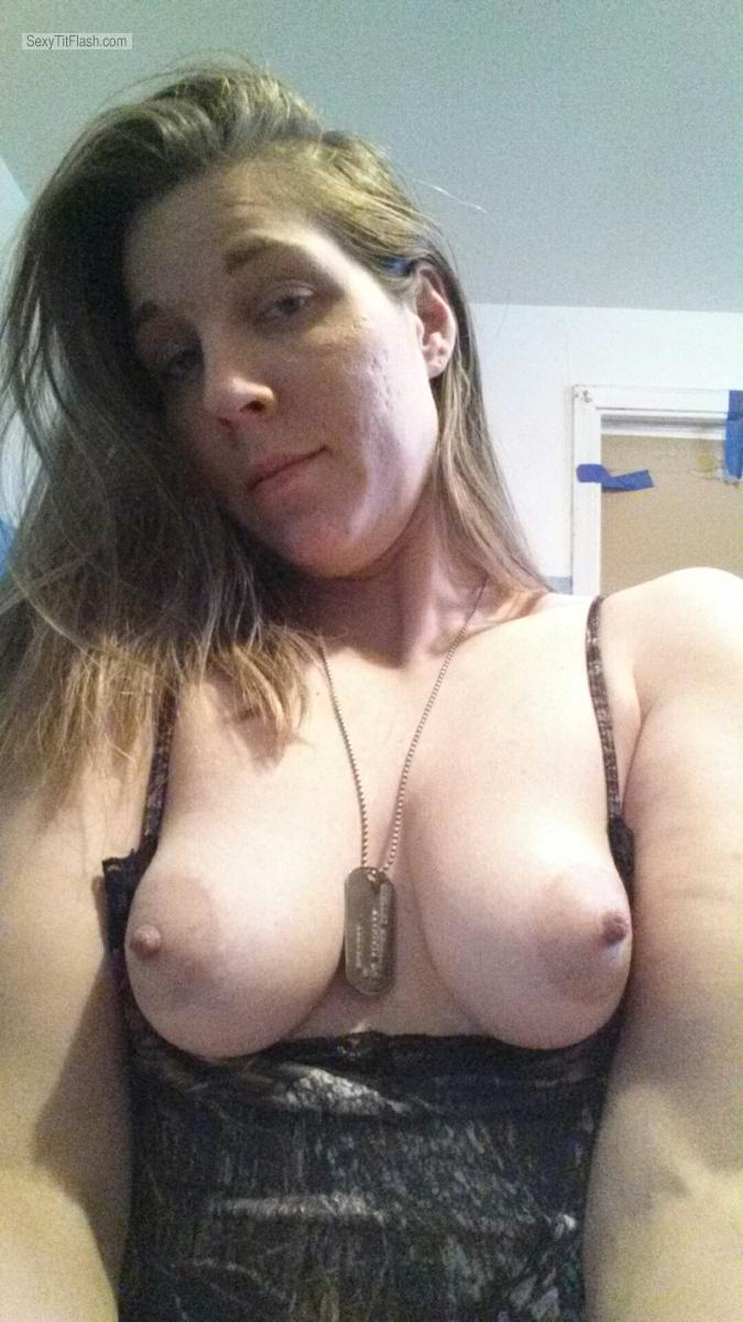 Tit Flash: Wife's Small Tits (Selfie) - Topless Smalltits from United States